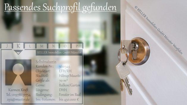 Ein Eintrag in die Interessentenkartei/Investorenkartei der KELLER Immobilien GmbH Münster lohnt sich in jedem Fall.